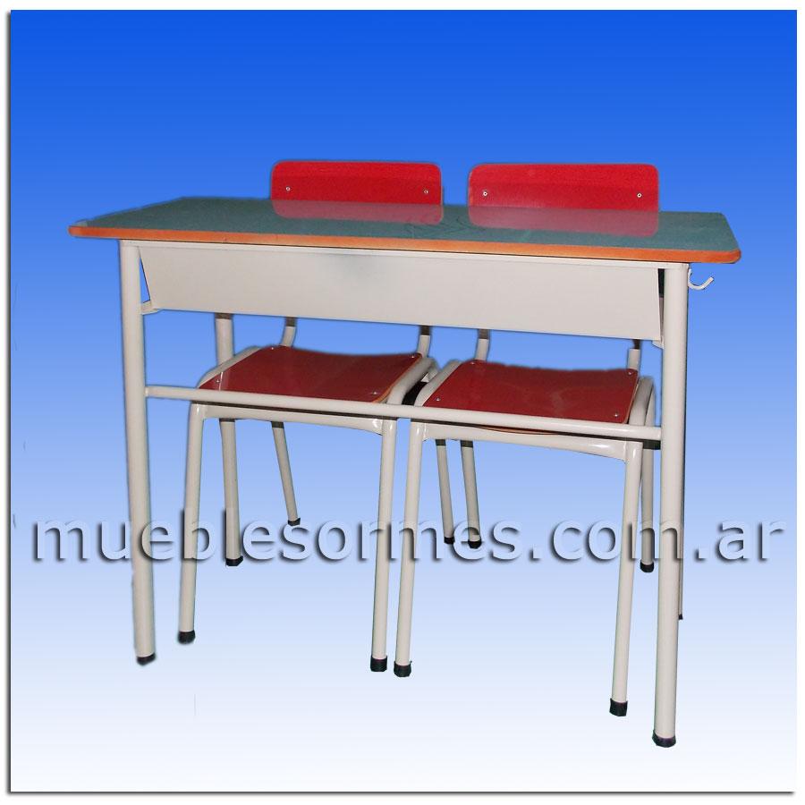 Pizarrones Rosario Muebles Escolares : Sillas y pupitres conjunto bipersonal con dos